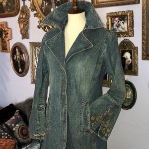 Nine West VTG Denim Jean Duster Jacket Coat Med